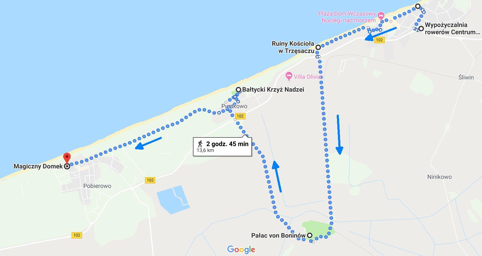 Przebieg trasy z Rewala do Pobierowa przez Dreżewo