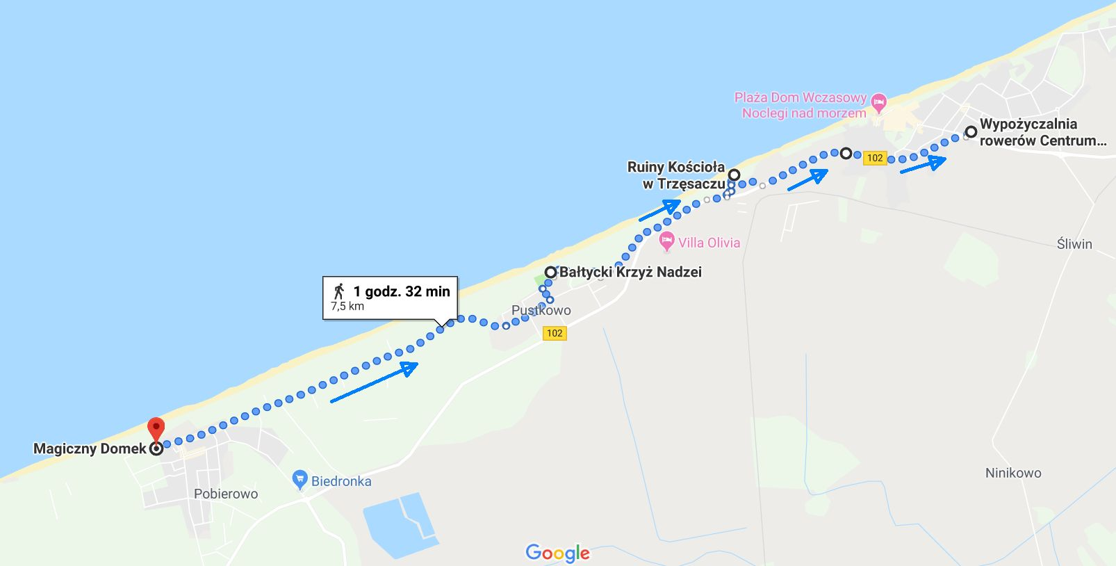 Przebieg trasy powrotnej z Pobierowa do Rewala